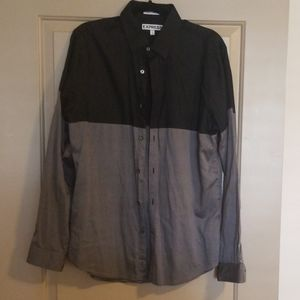 Men dual color block buttondown shirt